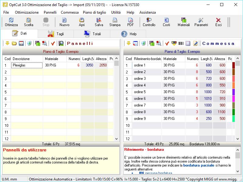 OptCut Free- Software optimization of linear and rectangular cut